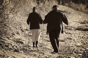 Exercise will improve your health and improve your memory too. Photo of elderly couple walking
