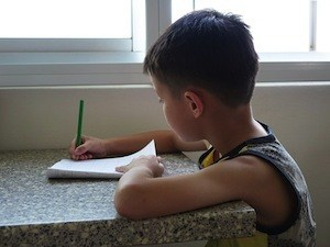 7 Tips for successful revision - photo of boy doing homework