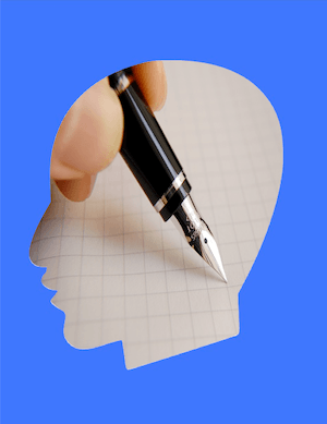 Mental Note - image of brain and note making
