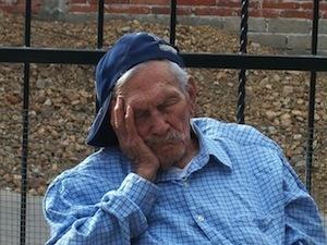 Sleep learning. Photo of granddad sleeping