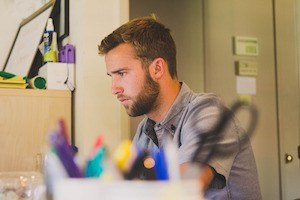 You can be glad about that - photo of man concentrating at computer