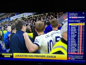 Ideacide -v- courage: Photo of Leicester City Football Club celebrating their win of the Premiership