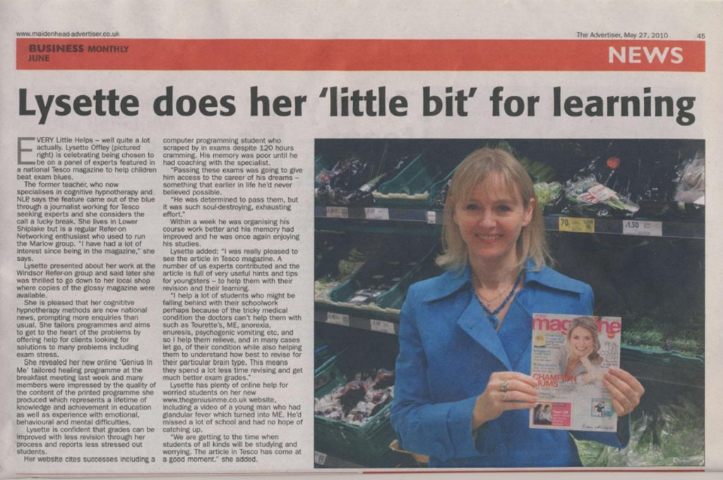 Lysette Offley & Genius Material in the Maidenhead Advertiser May 2010